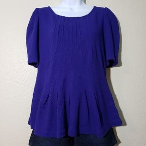 POSTAGE STAMP Purple/Blue Blouse Ruffle Textured L